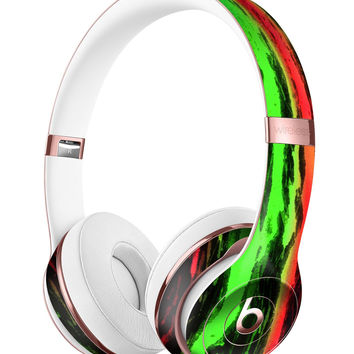 Running Neon Green and Coral WaterColor Paint Full-Body Skin Kit for the Beats by Dre Solo 3 Wireless Headphones