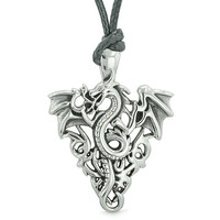Amulet Flying Dragon Celtic Protection Knots Courage Fire Flames Lucky Charm Pendant Adjustable Necklace