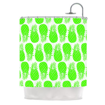 "Anchobee ""Pinya Neon Green"" Lime Pattern Shower Curtain"