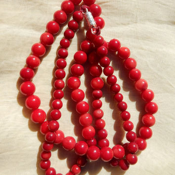 Rare Red Coral Necklace Red Coral Beads Coral Jewelry1930s Red Coral Necklace Jewelry Supplies