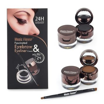 Black Gel Eyeliner Eyebrow Powder Makeup Set