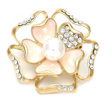 Gold Layered Basic Brooche, Flower Design, with Pearl and Crystal, Gold Tone