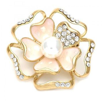 Gold Layered Basic Brooche, Flower Design, with Pearl and Crystal, Golden Tone
