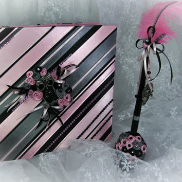 Wedding Guest Book Pink, Black and Grey, with Crystal Owl Brooch, Personalized Guest Book, Wedding Guestbook, Wedding Sign In Book