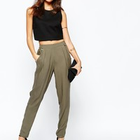 New Look Waistband Zip Trousers