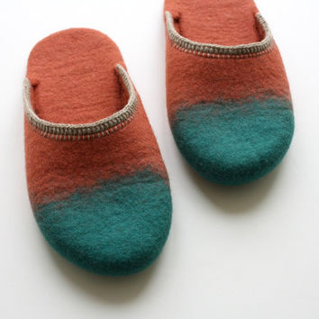 "Smart "" Felted wool slippers in burned red  and celadon green. Unisex"
