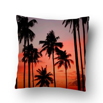 Palm Trees at Sunset Throw Pillow Case from Surfer Bedding