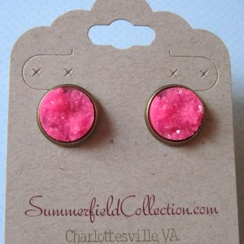 Antiqued Gold-Tone Stud Earrings 12mm Neon Pink Faux Druzy Stone