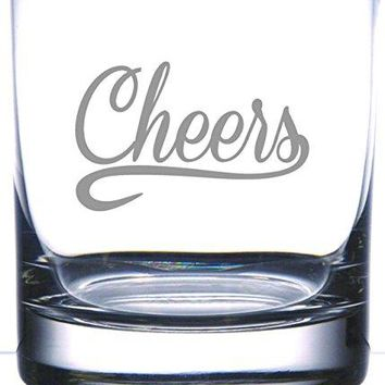 IE Laserware Cheers  Salute permanently etched on Rocks Old Fashion Whiskey Scotch Glass