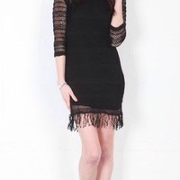 Nightcap Black Raglan Fringe Dress Size 2 New No Tags $396