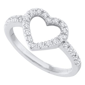 10kt White Gold Women's Round Diamond Simple Heart Outline Ring 1/5 Cttw - FREE Shipping (US/CAN)