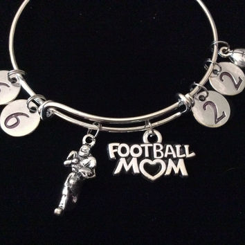 Custom Football Mom Expandable Silver Charm Bracelet Adjustable Wire Bangle Handmade Gift Trendy Sports Team (Number Options Available upon Request)
