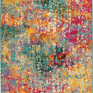 2110 Multi Color Abstract Distressed Contemporary Area Rugs