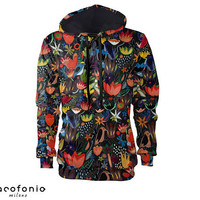 hoodie women Colorful jungle colorful hoodies hoody modern art all sizes vintage festival clothing gift men women Cacofonia hoodies women