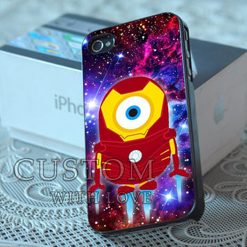 Despicable Minions Ironman Galaxy Nebula - Rubber or Plastic Print Custom - iPhone 4/4s, 5 - Samsung S3 i9300, S4 i9500 - iPod 4, 5