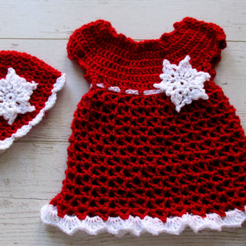 Baby girl Christmas dress , holiday outfit , baby clothes , baby Christmas outfit, red baby dress, snowflakes baby clothes, gift for babies