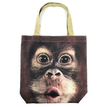 Orangutan Monkey Baby Face Print Hemp Fabric Tote Shopper Bag | DOTOLY
