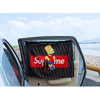 "Hot Sale ""Supreme"" Letter Simpson Print Sucker Type Car Curtain Double Layer Car Use Sunshade Curtain Common Side Window Sun Block Screen Car Private Shading"