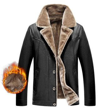 PU Leather Fleece Fur Jacket Winter Warm For Men Autumn Thick Casual Long Sleeve Classic Parka Coat Padded Varsity Overcoat Male