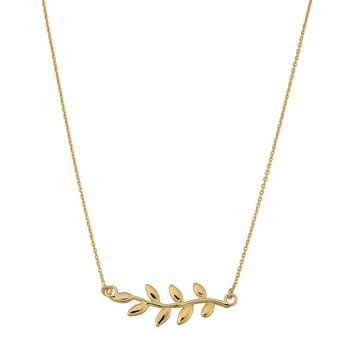 """10K Yellow Gold Olive Leaf Pendant On 18"""" Necklace"""