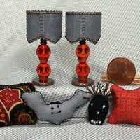 Gothic Dollhouse miniature decor - Lamps & Pillows - handmade artisan set