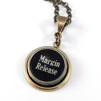 Vintage Typewriter Key Necklace - Margin Release - Brass