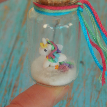 Micro Princess Celestia Inspired Polymer Clay Bottle Jar Charm, MLP, My Little Pony Inspired Pegasus
