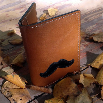 Leather Wallet For 4 Credit Cards With Moustaches Design - Tobacco Brown With Black Moustaches - Slim Leather Wallet - Credit Card Holder