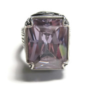 Huge Purple Crystal Statement Ring Sterling Silver Size 11