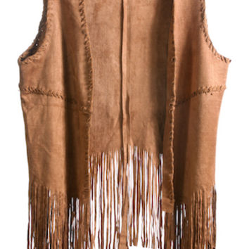 This must have 70's inspired layer lightweight faux suede vest for those crisp night features open front, sleeveless, finished with asymmetrical fringe hemline and woven detailing accents. Pair with white cropped top, flare denim, wedge, fringe cross body
