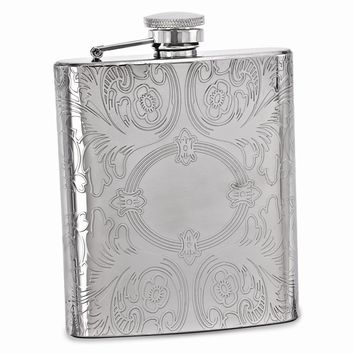 Silver-tone 8oz Circle Etched Design Flask