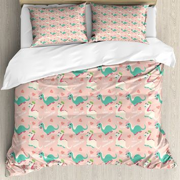 Nursery Duvet Cover Set Cute I Love Dinosaurs Quote with Prehistoric Animal in Cartoon Style Hearts Pattern 4 Piece Bedding Set