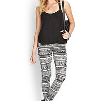 FOREVER 21 Tribal Print Leggings Black/Cream