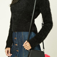 Pom Pom Faux Leather Crossbody