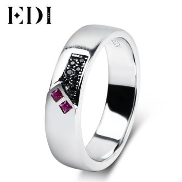 EDI Natural Ruby Gemstone Wedding Ring Sapphire 925 Sterling Silver Rings For Women and Men Couple Wedding Bands Fine Jewelry
