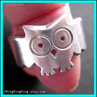 925 Adjustable cute animal ring Owl ring in solid by RingRingRing