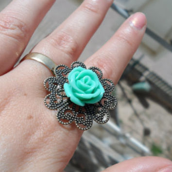 Flower turquoise resin ring,blue green cabochon ring