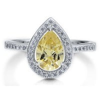 Sterling Silver 925 Pear Cut Canary Cubic Zirconia CZ Halo Style Ring #r500