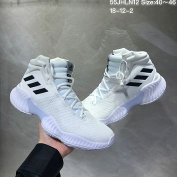 HCXX A492 Adidas Pro Bounce 2018 Mid Flyknit Actual Baskteball Shoes White