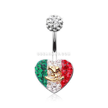 Mexico Flag Heart Multi-Gem Sparkle Belly Button Ring