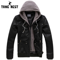 Men's Tangnest Hooded Hat Detachable Fashionable PU Leather Warm Windbreaker Jacket
