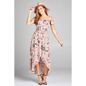 Ladies fashion off the shoulder ruffle short sleeve smocked waist high-low floral print dress