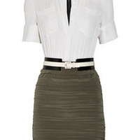 Alice + Olivia Maddie two-tone silk-crepe shirt dress - 55% Off Now at THE OUTNET