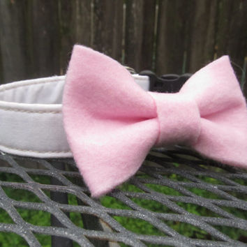Dog Collar and Bow - Pink Felt Bow and White dog collar - wedding dog collar, pink bow dog collar, pink wedding dog