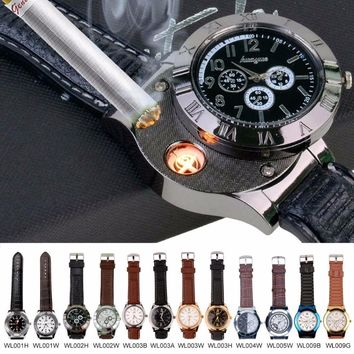 Men's Watches Military USB Lighter Quartz with Flameless Cigar Lighter