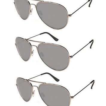 3 PAIR LARGE AVIATOR SUNGLASSES SILVER MIRROR LENS TOP COP AV LOT