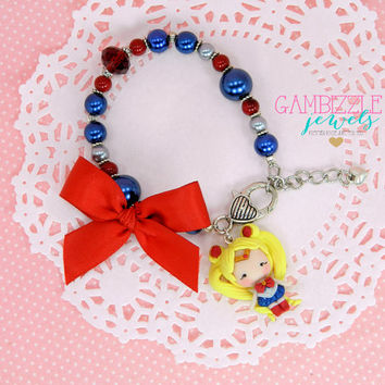 sailor moon bracelet, sailor moon jewelry, sailor moon clay charm