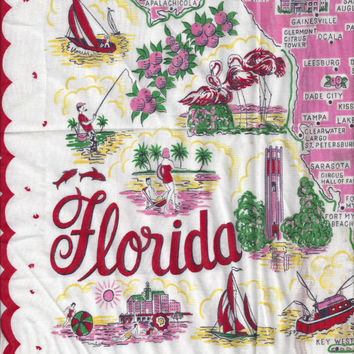 1960s Vintage Souvenir Lady's Handkerchief from Florida, Pre Disney with Pink Map, Great Florida Nostalgic Souvenir, Old Florida Travel