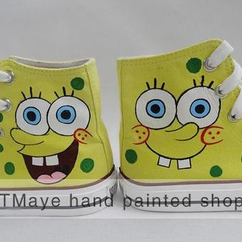 Spongebob cartoon Shoes hand painted shoes painted on local brand only 49.99USD painte