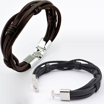 Men Surfer Hemp Faux Leather Hand Braided Multilayer Wristband Cuff Bracelet New Arrival